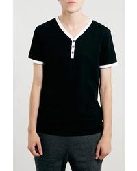 T-shirt à col boutonné noir et blanc