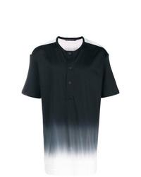 T-shirt à col boutonné noir et blanc Issey Miyake Men