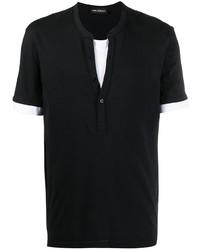 T-shirt à col boutonné noir et blanc Neil Barrett