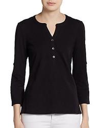 T-shirt à col boutonné noir