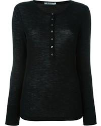 T-shirt à col boutonné noir Alexander Wang