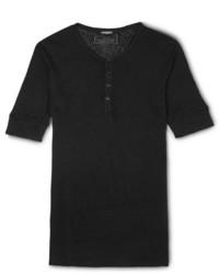 T-shirt à col boutonné noir Balmain