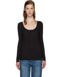 T-shirt à col boutonné noir Frame