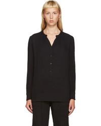 T-shirt à col boutonné noir Raquel Allegra