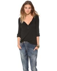 T-shirt à col boutonné noir Splendid
