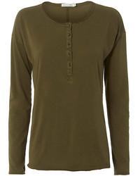 T-shirt à col boutonné olive