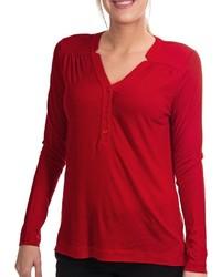 T-shirt à col boutonné rouge