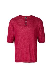 T-shirt à col boutonné rouge Eleventy