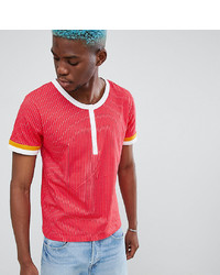 T-shirt à col boutonné rouge Sacred Hawk