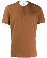 T-shirt à col boutonné tabac Brunello Cucinelli
