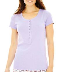 T-shirt à col boutonné violet clair