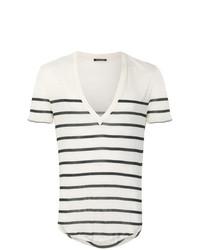 T-shirt à col en v à rayures horizontales beige Balmain