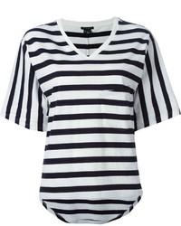 T-shirt à col en v à rayures horizontales blanc et noir