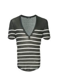 T-shirt à col en v à rayures horizontales noir et blanc Balmain