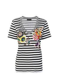 T-shirt à col en v à rayures horizontales noir et blanc Etro