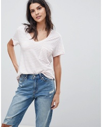 T-shirt à col en v à rayures horizontales rose