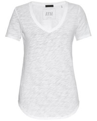 T shirt a col en v blanc original 1306041