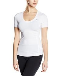 T-shirt à col en v blanc adidas