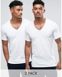 T-shirt à col en v blanc Calvin Klein