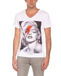 T-shirt à col en v blanc Eleven Paris