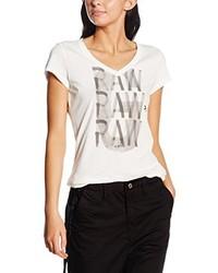 T-shirt à col en v blanc G-Star Raw