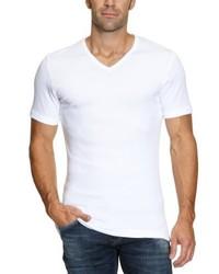 T-shirt à col en v blanc Garage