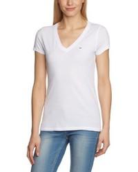 T-shirt à col en v blanc Hilfiger Denim