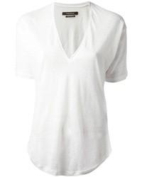 T-shirt à col en v blanc Isabel Marant