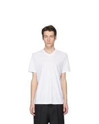 T-shirt à col en v blanc Jil Sander