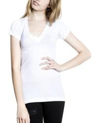 T-shirt à col en v blanc LnA