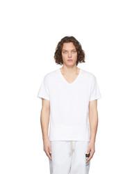 T-shirt à col en v blanc Maison Margiela