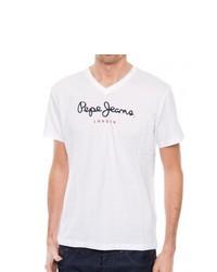 T-shirt à col en v blanc Pepe Jeans