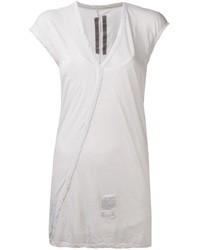T-shirt à col en v blanc Rick Owens