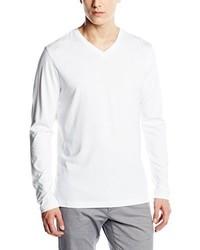 T-shirt à col en v blanc Signum