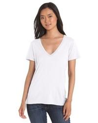 T-shirt à col en v blanc Splendid