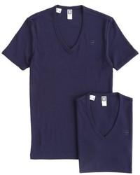 T-shirt à col en v bleu marine G-Star RAW
