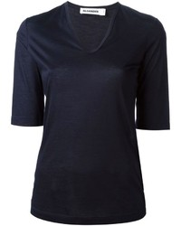 T-shirt à col en v bleu marine Jil Sander