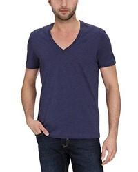 T-shirt à col en v bleu marine