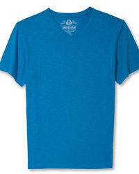 T-shirt à col en v bleu