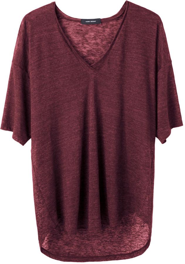 T shirt à col en v bordeaux Isabel Marant