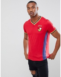 T-shirt à col en v brodé rouge Brave Soul