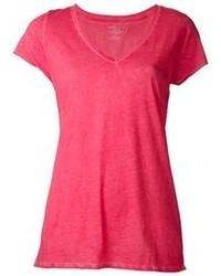T shirt a col en v fuchsia original 4198944