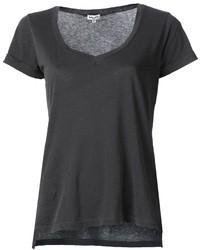 T-shirt à col en v gris foncé
