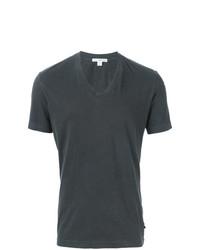 T-shirt à col en v gris foncé James Perse
