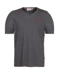 T-shirt à col en v gris foncé Naketano