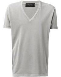 T shirt a col en v gris original 384030