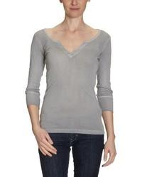 T-shirt à col en v gris Blaumax