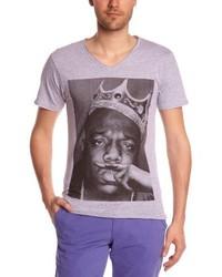 T-shirt à col en v gris Eleven Paris