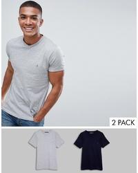 T-shirt à col en v gris French Connection