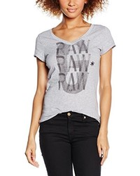 T-shirt à col en v gris G-Star Raw